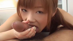 Asian amateur sucking cock and licking balls