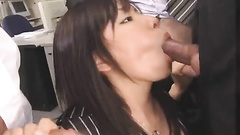 Sweet office worker gets her mouth packed by rods