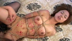 Wild lesbian fuck with the use of strapon and ropes