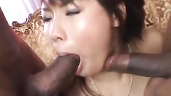 Two ebony dicks gangbang one Japanese cunt