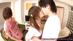 Pretty young brunette gets pleasantly fucked by two guys