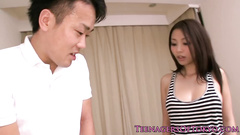 Sexy cute oriental girl pleases young guy with blowjob