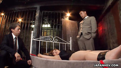 Mature Japanese lady is tied to bed and fucked