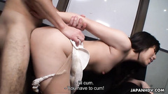 Busty office lady masturbates and gets pounded