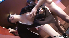 Slutty girls help each other fuck the hard stick