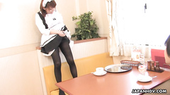 Dirty Asian housemaid kinkily plays with dudes