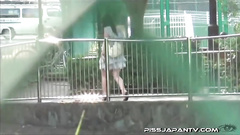 Kinky cutie gets spied while public pissing