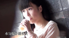 Cute Japanese bimbo horny up skirt pissing