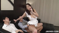 Girl in white lingerie enjoys the dirty fucking