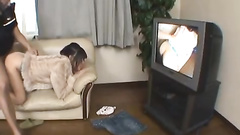 Japanese amateur sucks and fucks dick, home video