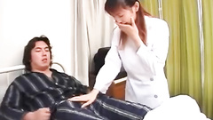 Teen nurse enjoys jerking off patient's dick