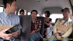 Slutty Asian chicks are pleasuring hot group fuck in the car