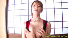 Skinny Japanese girl in sexy dress gets nude and passionately fucked
