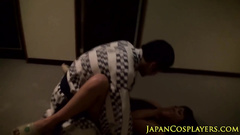 Japanese fucker in kimono is jerking off his dick