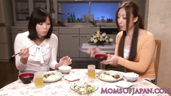 Japanese chicks got horny in kitchen and hotly kisses