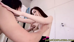 Hungry dude watches hot Japanese chick taking shower and seduces her