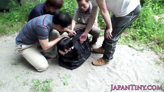 Freaky Japanese guys trapped teen Asian chick and fucked her outdoors