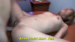 Asian slut with sexy small boobies is pleasuring painful anal fuck