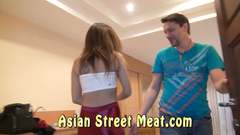 The filthy Asian babe fucking the American cock in public