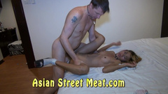 Asian blonde wrapping cock with mouth and shaved pussy lips