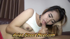 Asian girl wants sperm and fucks on the leather sofa