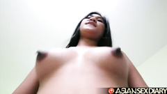 Hungry white dude is having hardcore threesome fun with two Asian sluts