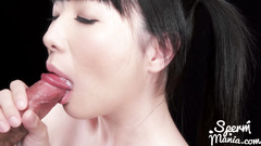 Asian slut with sexy boobs and tender skin does awesome double blowjob