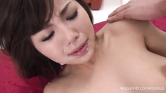 Three fucking Asian freaks are playing one oriental hairy pussy