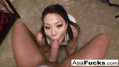 Delightful Japanese girl Asa Akira loves to deepthroat big dicks