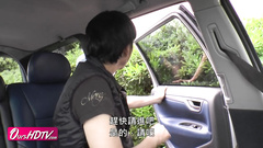 Japanese girl got stroked with vibrator in the car and fucked hard at home