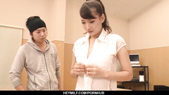 Skinny Japanese student girl Yui Oba got seduced and fucked by three classmates